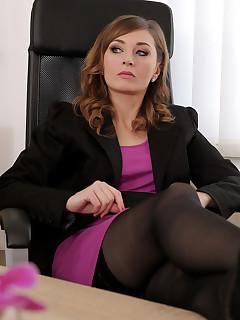 Hot Secretary Fucks In Stockings At Work