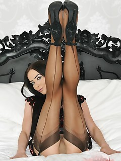 Solo Stockings Masturbation Porn Photos